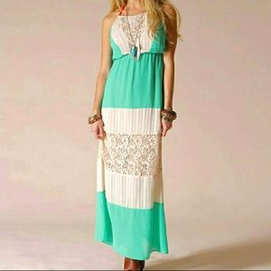 Flying Tomato Maxi Halter Dress Lace Color Block L